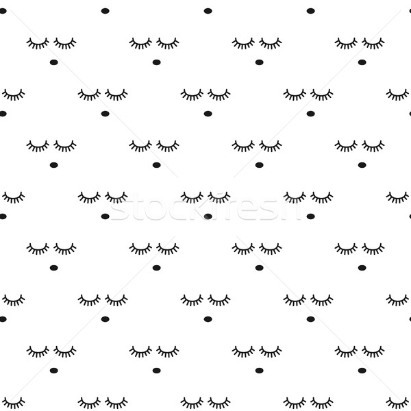 Sleepy face seamless vector pattern. Stock photo © yopixart