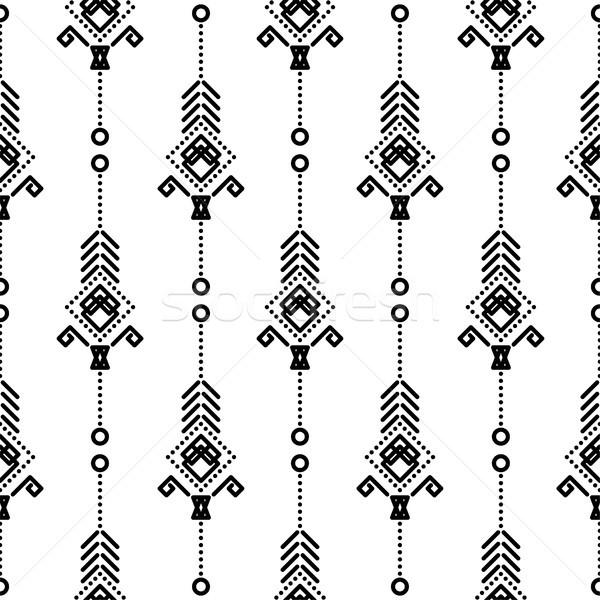 自由奔放な シームレス ベクトル パターン 黒白 ファッション ストックフォト © yopixart
