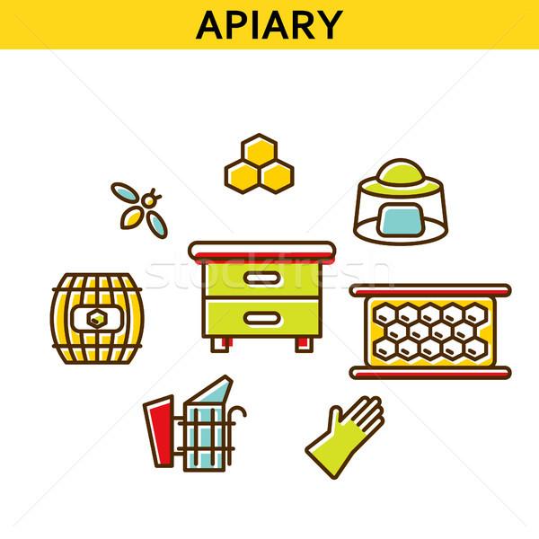 Apiary line icons vector. Stock photo © yopixart