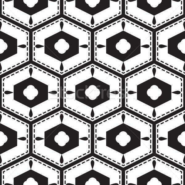 Black and white mediterranean seamless tile pattern. Stock photo © yopixart