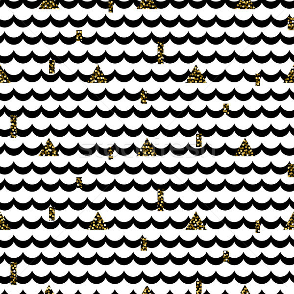 Wave rows black on white with shimmer accents pattern. Stock photo © yopixart