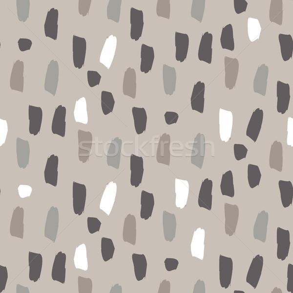 Paint splash brushstrokes seamless vector gray brown pattern. Stock photo © yopixart