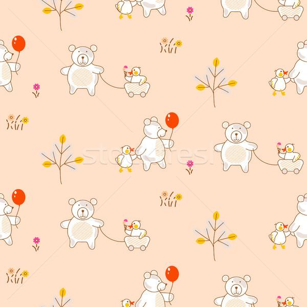 Cute bear and duck friends seamless vector pattern. Stock photo © yopixart