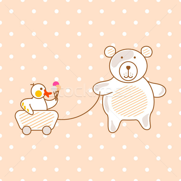 Cute bear and duck friends pink vector illustration for apparel polka print. Stock photo © yopixart