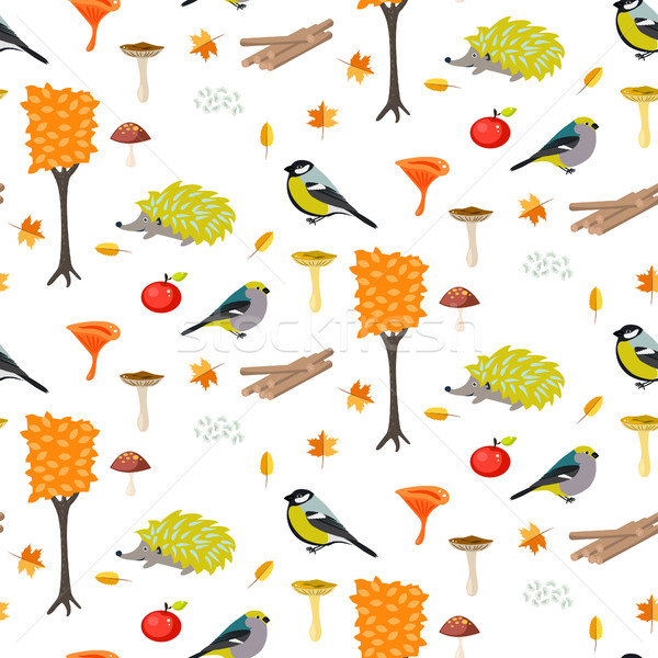 Cute cartoon forest seamless pattern with birds and hedgehogs. Stock photo © yopixart