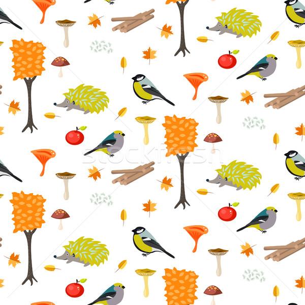 Cute cartoon lasu ptaków drzew Zdjęcia stock © yopixart