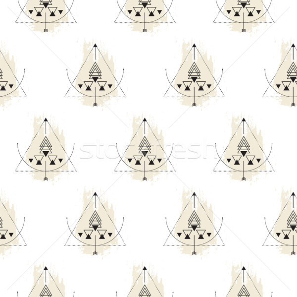 геометрия бесшовный вектор шаблон монохромный Сток-фото © yopixart