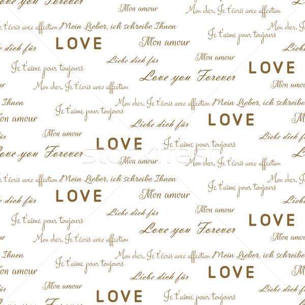 любви письма бесшовный вектора шаблон белый Сток-фото © yopixart
