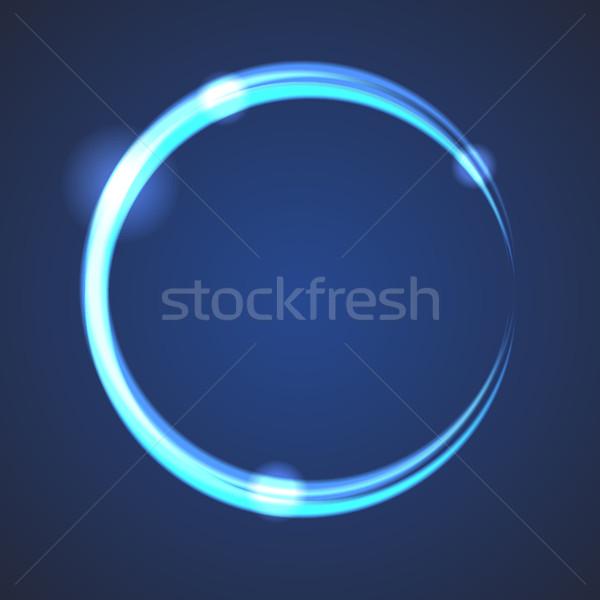 Izzik hatás fogyatkozás kör vektor neon Stock fotó © yopixart