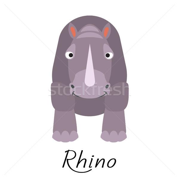 носорог вектора белый счастливым Сток-фото © yopixart