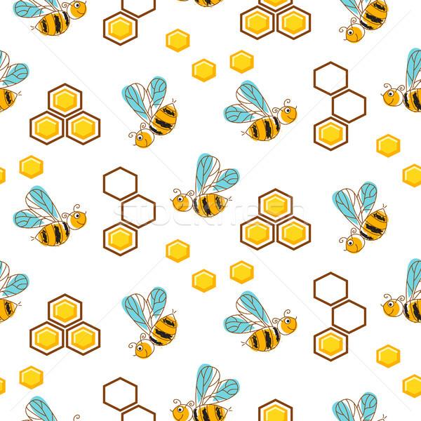Aranyos méhek méz fésű végtelen minta kézzel rajzolt Stock fotó © yopixart