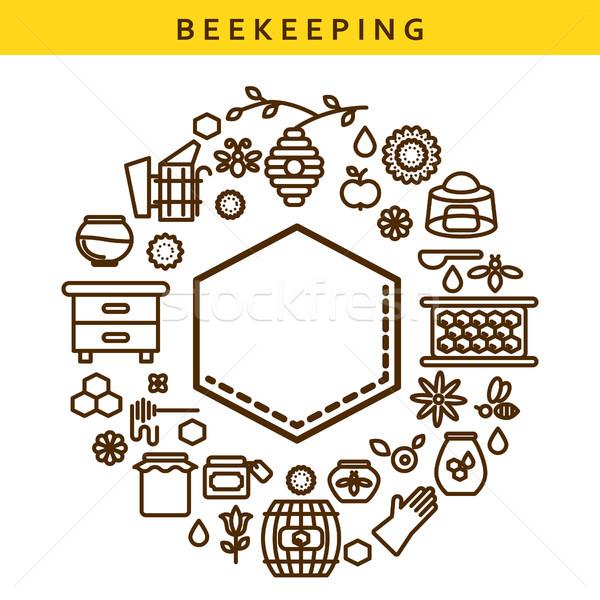 Beekeeping vector line icon label emblem. Stock photo © yopixart