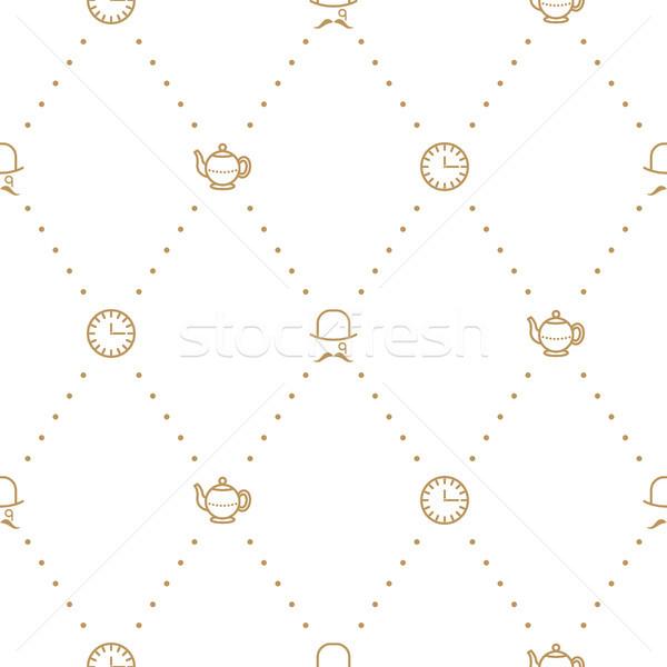 English tea party elegant gold on white line vector pattern. Stock photo © yopixart