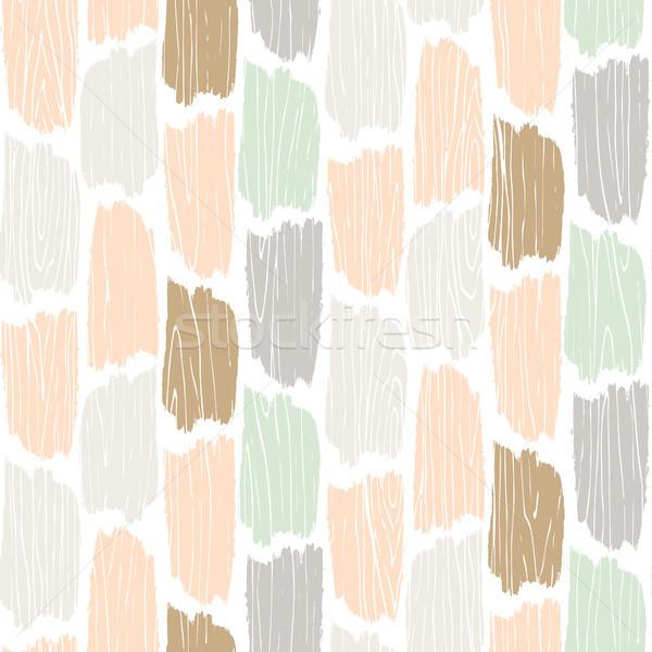 Seamless wood planks pattern. Tree bark texture vector background. Stock photo © yopixart