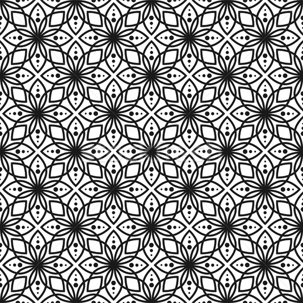 Black and white seamless floral vector pattern. Stock photo © yopixart