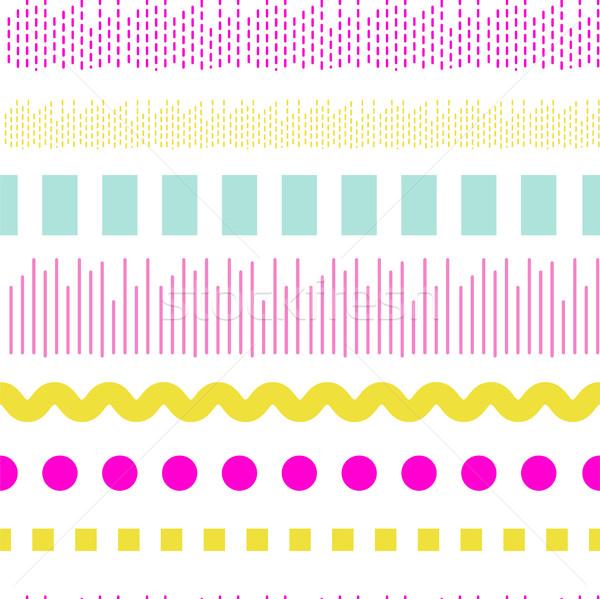 Geometric embroidery vector seamless pattern. Stock photo © yopixart