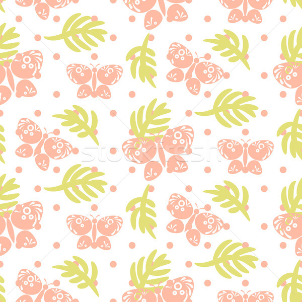 Stock fotó: Rózsaszín · pálmalevelek · pillangók · végtelenített · vektor · minta