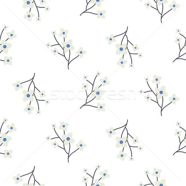 Simple cherry branches blue seamless vector pattern. Stock photo © yopixart