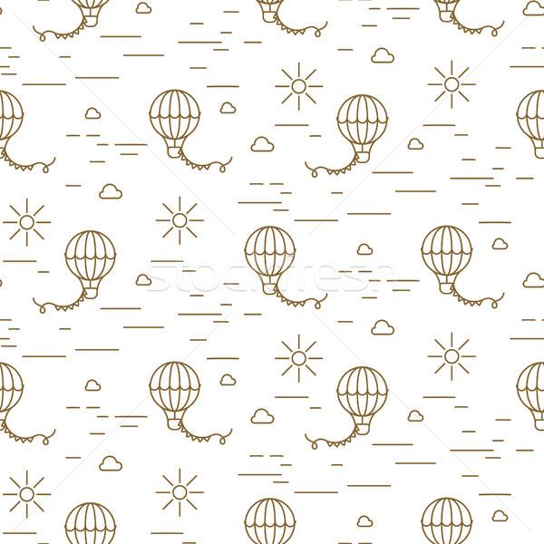 Ballon eenvoudige lijn goud witte naadloos Stockfoto © yopixart