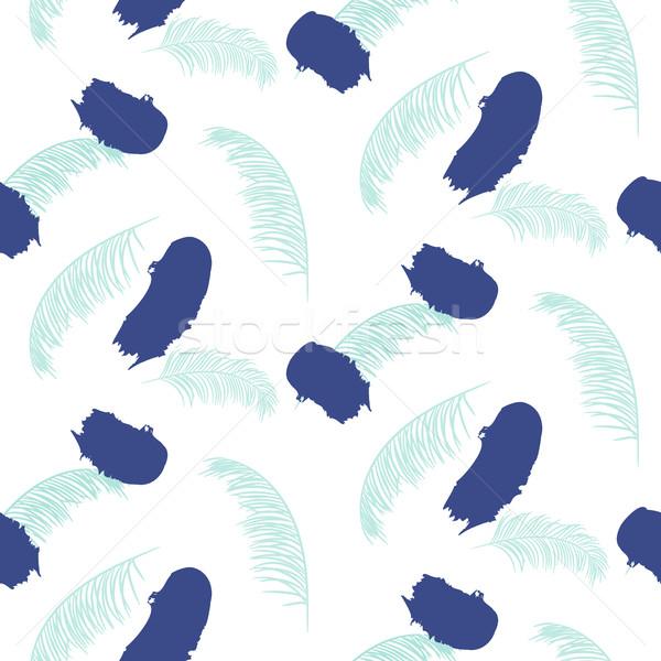 Paint brushstrokes seamless blue vector pattern. Stock photo © yopixart