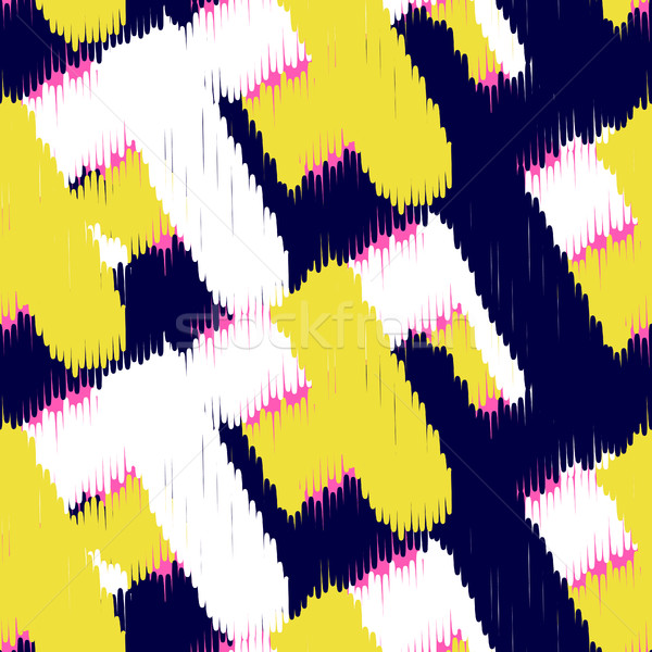 Stock photo: Ikat scribble swabs vector seamless pattern.