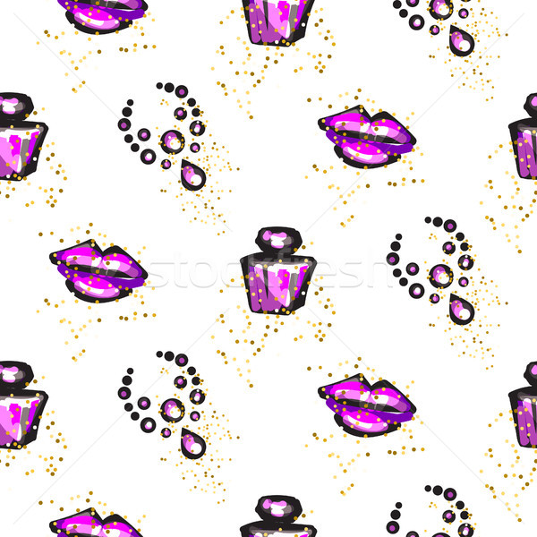 Purple and black glam chic feminine seamless pattern. Stock photo © yopixart