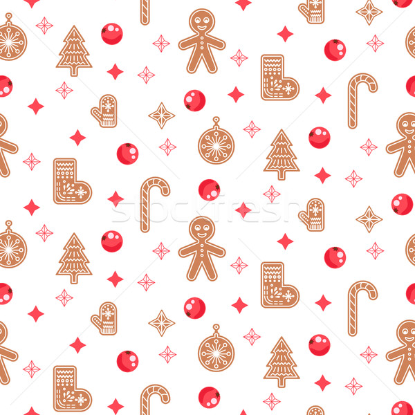 Gingerbread cookies vector seamless pattern. Stock photo © yopixart