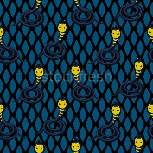 コブラ 暗い 青 シームレス ヘビ ストックフォト © yopixart