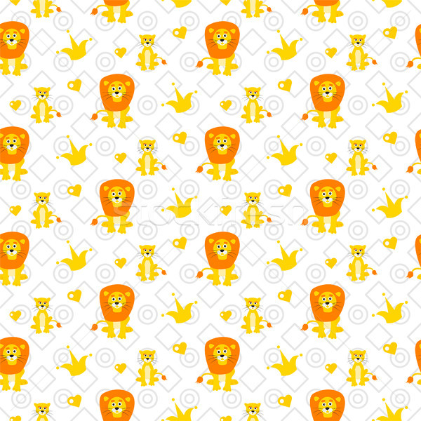 Cute lion and lioness seamless vector pattern. Stock photo © yopixart