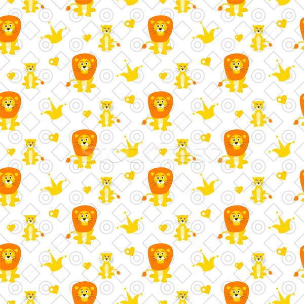 Cute leeuw naadloos vector patroon cartoon Stockfoto © yopixart