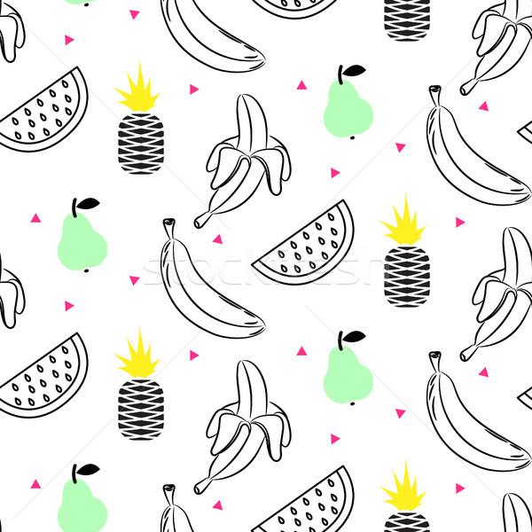 Schets lijn vruchtensalade naadloos vector Stockfoto © yopixart