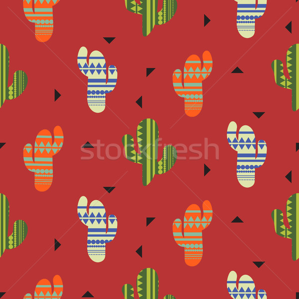 Cactus plant vector seamless pattern. Mexican style color cacti textile print. Stock photo © yopixart