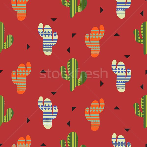 Kaktus roślin wektora mexican stylu Zdjęcia stock © yopixart