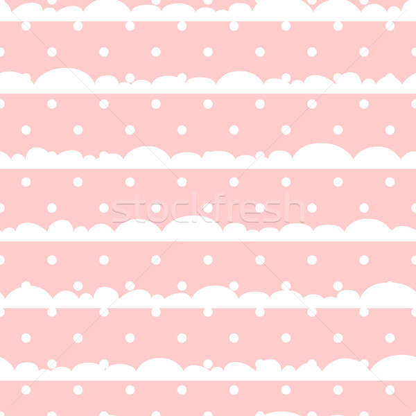 Pink and white polka dot clouds baby seamless vector pattern. Stock photo © yopixart