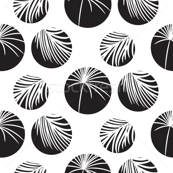 силуэта Круги пальмовых листьев черный бесшовный вектора Сток-фото © yopixart