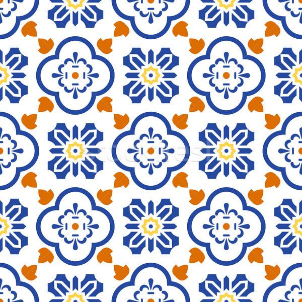 Kerámia kék fehér mediterrán végtelenített csempe Stock fotó © yopixart