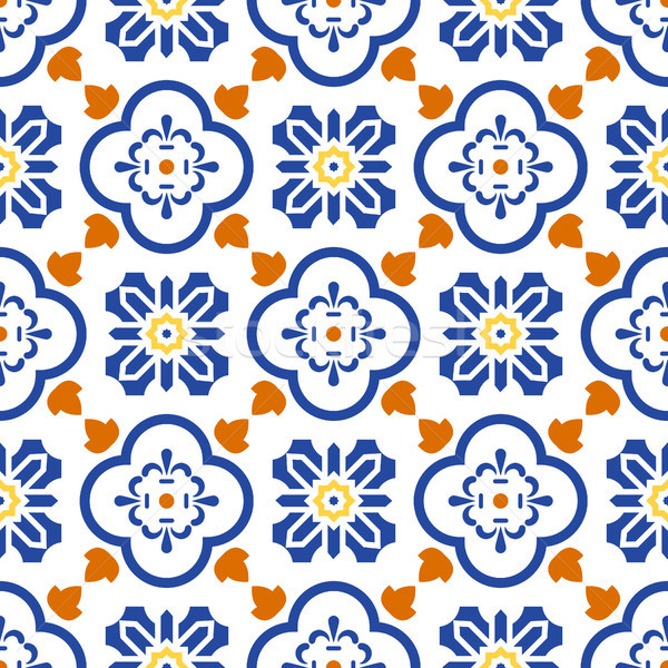 Ceramic blue and white mediterranean seamless tile pattern. Stock photo © yopixart