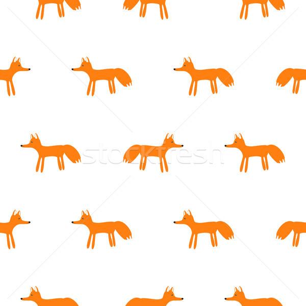 かわいい キツネ 動物 シームレス ベクトル パターン ストックフォト © yopixart