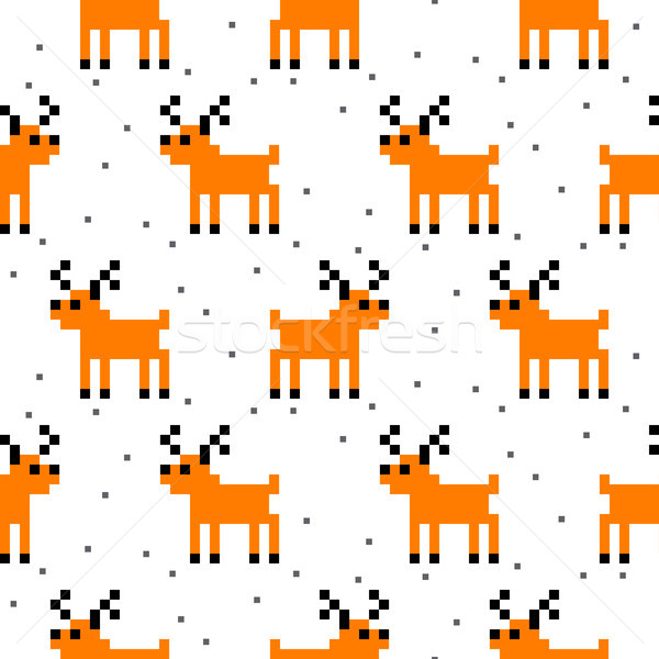 Cute deer cartoon pixel art seamless pattern. Stock photo © yopixart