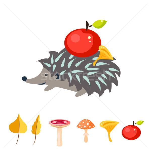 Cartoon еж яблоко назад красное яблоко грибы Сток-фото © yopixart
