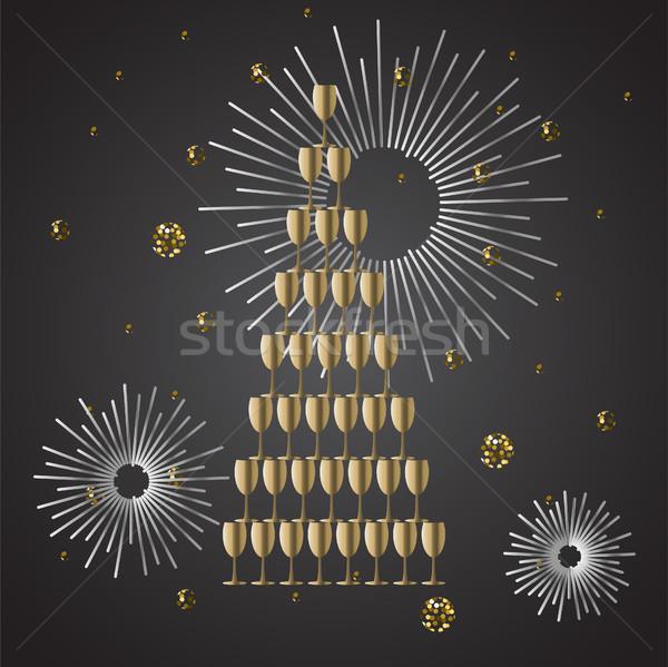 Champagne glass stack festive vector background. Stock photo © yopixart