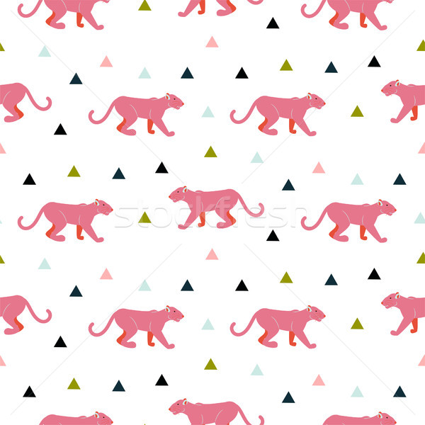 Pink panther animal seamless vector pattern. Stock photo © yopixart