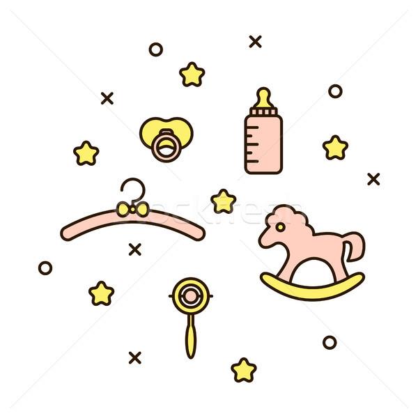Bonitinho bebê linha ícone macio rosa Foto stock © yopixart