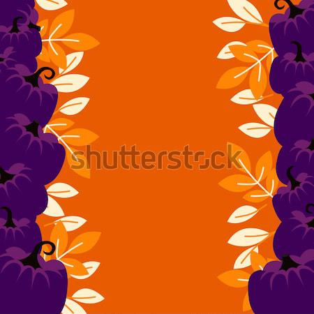 Orange pumpkins on peach light border background flyer