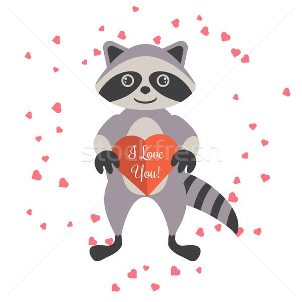 Cartoon wasbeer Valentijn hart kaart Stockfoto © yopixart