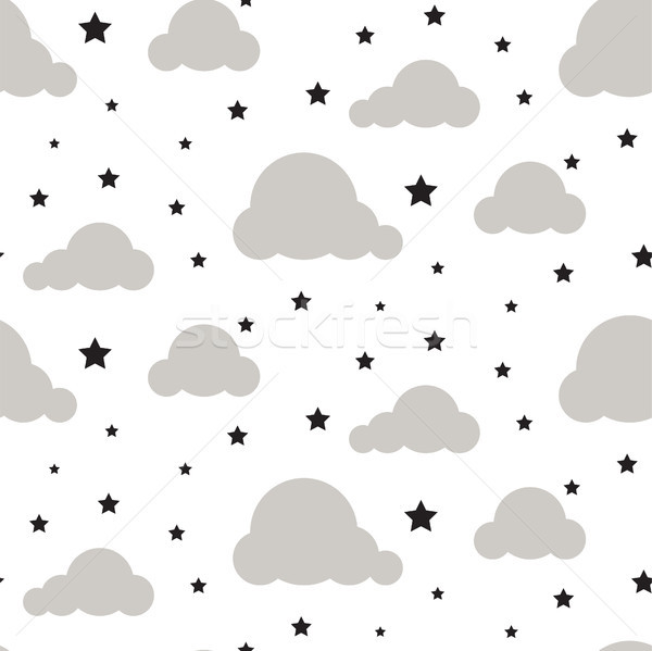 Starlight night sky seamless vector pattern. Stock photo © yopixart