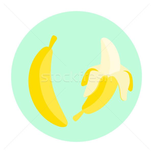 Rajz banán gyümölcs vektor zárva nyitva Stock fotó © yopixart