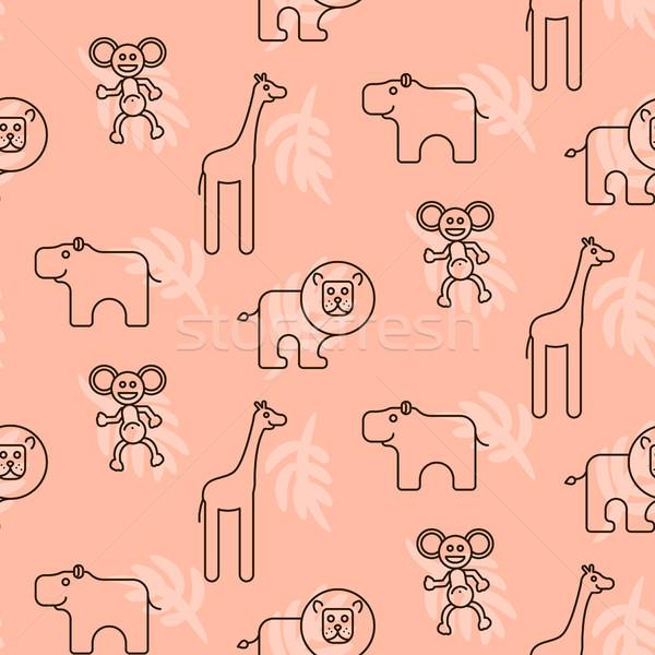 Criança vetor girafa leão Foto stock © yopixart