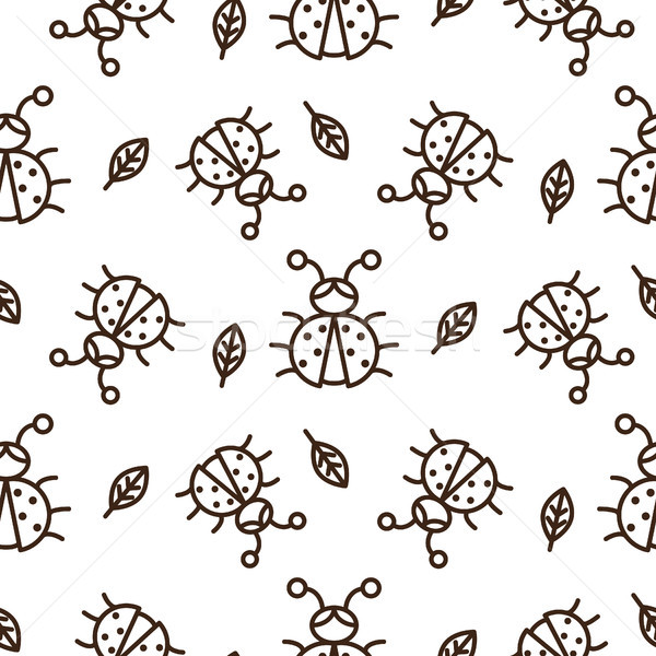 Ladybug and outline leaves on white seamless vector pattern. Stock photo © yopixart