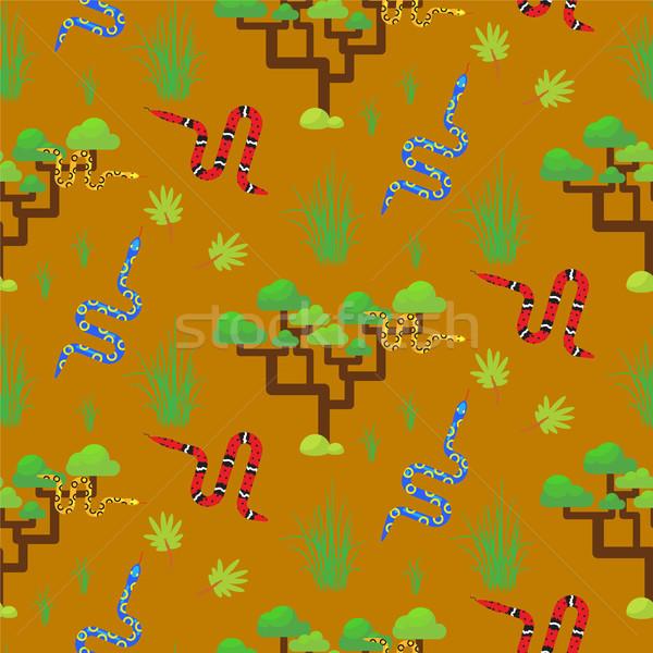 Savannah landscape seamless pattern vector. Stock photo © yopixart